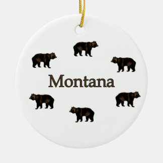 Montana Grizzly Bears Ceramic Ornament