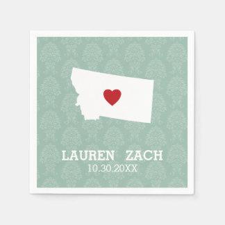 Montana Home State City Map - Custom Wedding Paper Napkins