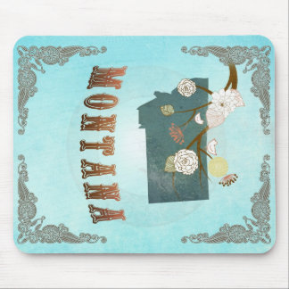 Montana Map With Lovely Birds Mouse Pad