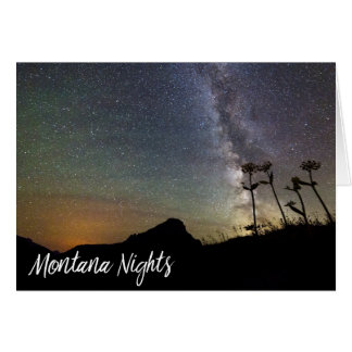 Montana Nights with Milky Way Mountains & Flowers Card