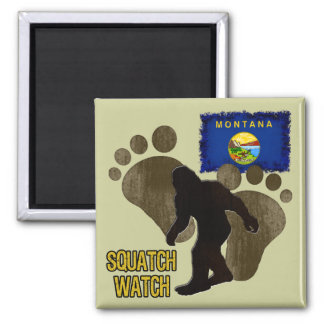 Montana Squatch Watch Square Magnet