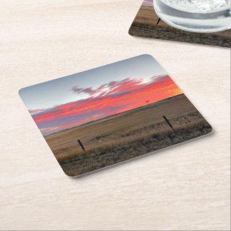 Montana Sunrise Square Paper Coaster