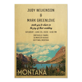 Montana Wedding Invitation Vintage Glacier Lake
