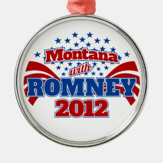 Montana with Romney 2012 Silver-Colored Round Decoration