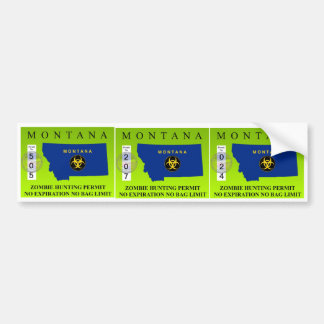 Montana Zombie Hunting Permit Bumper Stickers