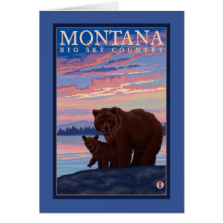 MontanaMomma Bear and Cub Vintage Travel Greeting Card