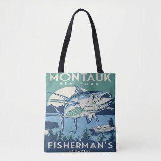 Montauk New York Fisherman's paradise vintage tote