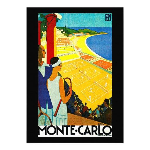 Monte Carlo Vintage Travel Poster Custom Announcements