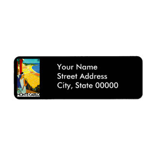 Monte Carlo Vintage Travel Poster Return Address Label