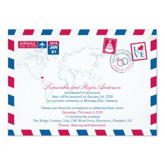 Montego Bay Jamaica Airmail Post Wedding Reception 13 Cm X 18 Cm Invitation Card