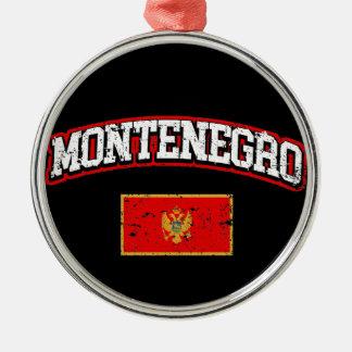 Montenegro Flag Silver-Colored Round Decoration