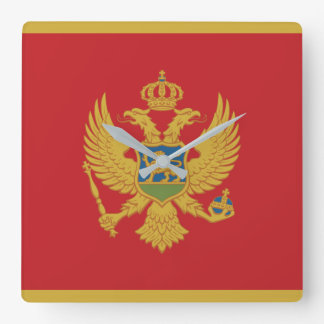 Montenegro Flag Square Wall Clock