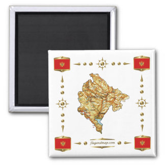 Montenegro Map + Flags Magnet