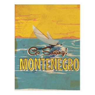 Montenegro sailing vintage travel poster postcard