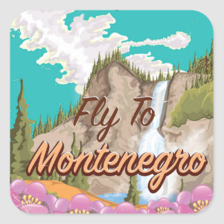 Montenegro vintage flight travel poster square sticker