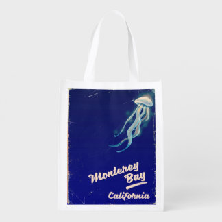 Monterey Bay California Jelly vintage travel Reusable Grocery Bag