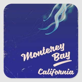 Monterey Bay California Jelly vintage travel Square Sticker