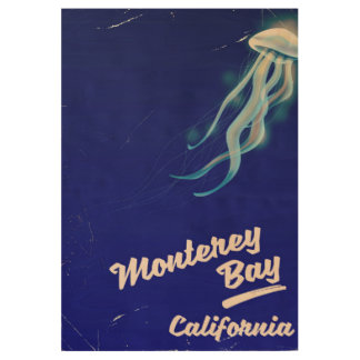Monterey Bay California Jelly vintage travel Wood Poster