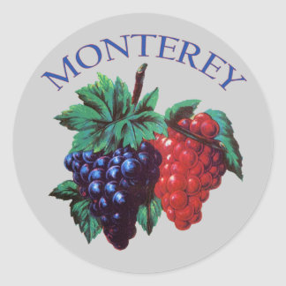 Monterey California Grapes Round Sticker