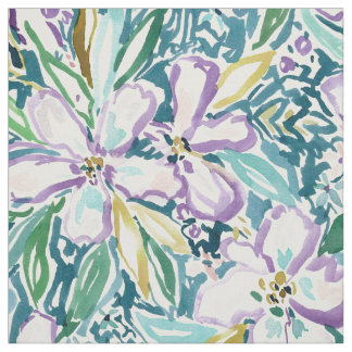 MONTEREY FLORAL Tropical Watercolor Print Fabric
