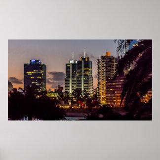 Montevideo Cityscape Scene at Twilight Poster
