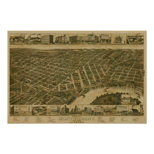 Montgomery, AL 1800's Panoramic Birds Eye View Poster