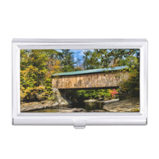 Montgomery Covered Bridge with fall foliage Business Card Case