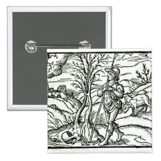 Month of January from a Shepherds calendar 15 Cm Square Badge