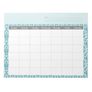 Monthly Damask Calendar Planner Notepad