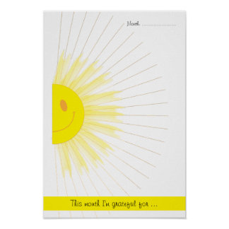 Monthly Gratitude Mindfulness Rays of Sunshine Poster