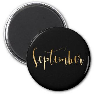 Monthly September Black Gold Glam Script 6 Cm Round Magnet