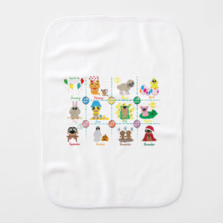 Months of the Year Burp Cloth