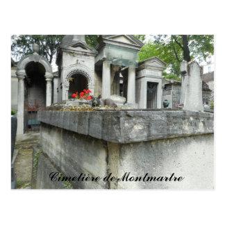 Montmartre Cemetery Cat (text) Postcard