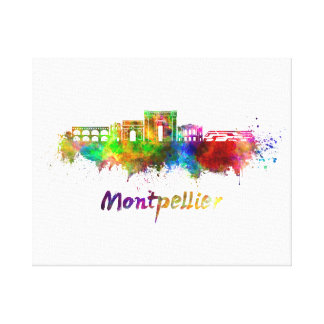 Montpellier skyline in watercolor canvas print