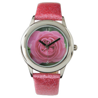 Montre Pink Glitter Roses Macro Watch