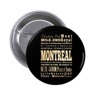 Montreal City of Canada Typography Art 6 Cm Round Badge