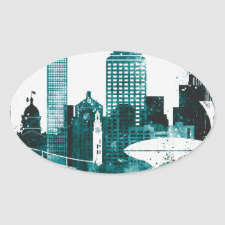 Montreal City Skyline Oval Sticker