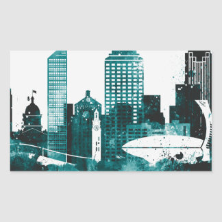 Montreal City Skyline Rectangular Sticker