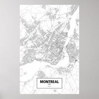 Montreal, Quebec (black on white) Poster