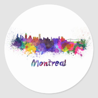 Montreal skyline in watercolor classic round sticker