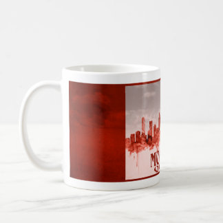 Montreal skyline with red grunge coffee mugs