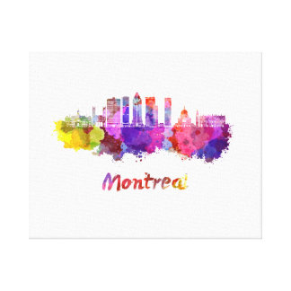 Montreal V2 skyline in watercolor splatters Canvas Print