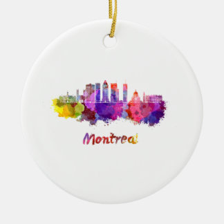 Montreal V2 skyline in watercolor splatters Ceramic Ornament