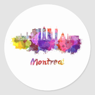 Montreal V2 skyline in watercolor splatters Classic Round Sticker