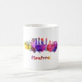 Montreal V2 skyline in watercolor splatters Coffee Mug