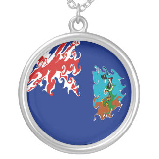 Montserrat Gnarly Flag Round Pendant Necklace