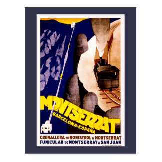 Montserrat, Spain Vintage Travel Poster Postcard
