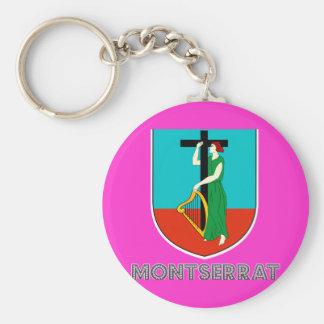 Montserratian Emblem Basic Round Button Key Ring