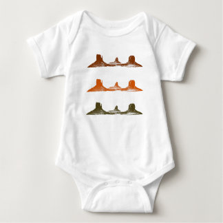 Monument Valley, 3 mountains, 3 colors Baby Bodysuit