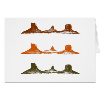 Monument Valley, 3 mountains, 3 colors Card
